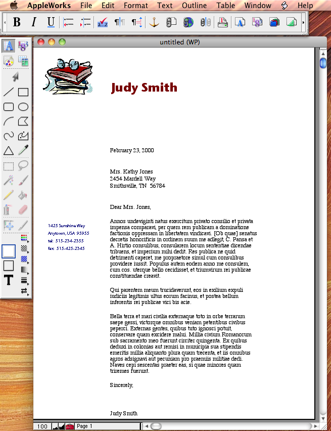Teacher Letterhead in Apple Works 6.0